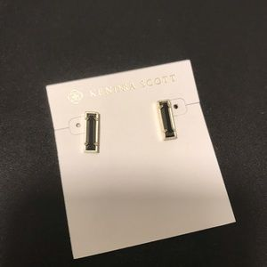 Kendra Scott Lady Stud Earrings In Black / Gold
